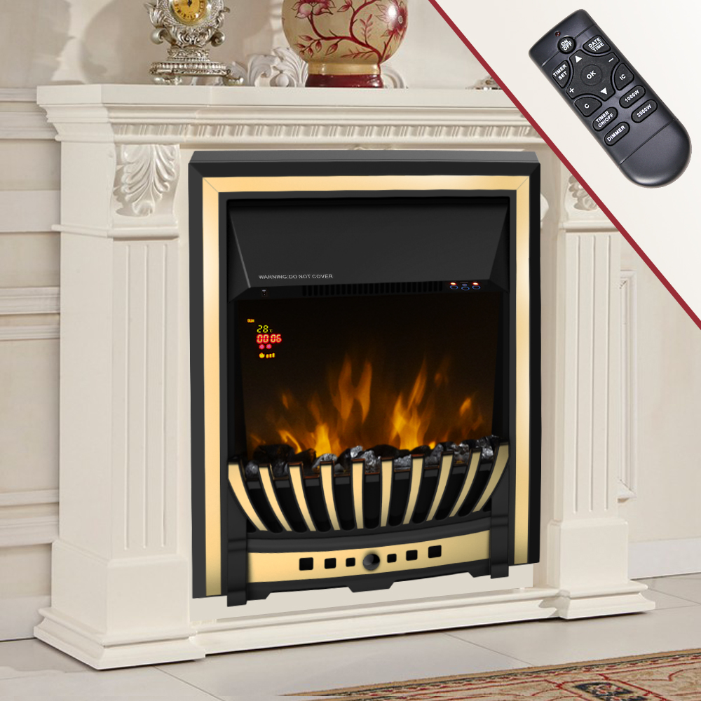 Wall Mounted Oil Filled Radiator >> Modern Electric Fireplace Heater Fire Place Flame Effect ...