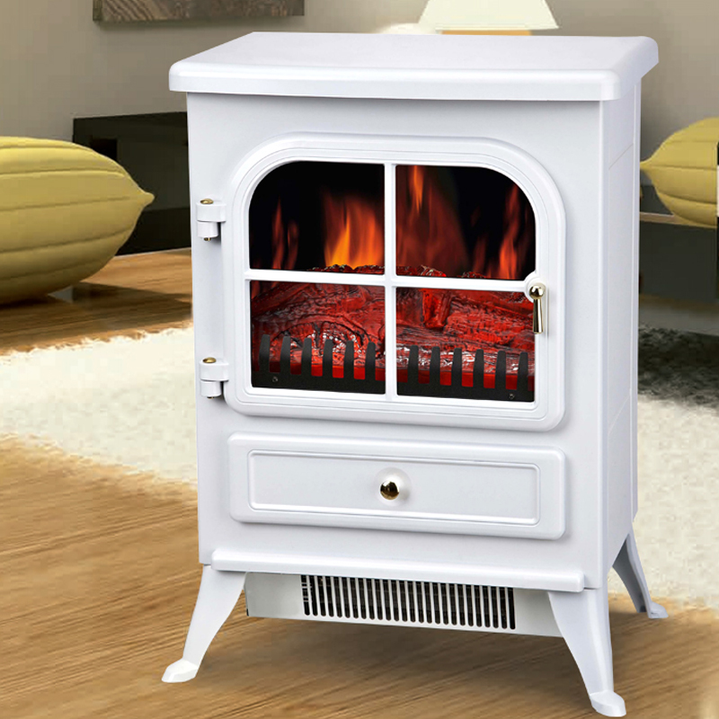 Contemporary Free Standing Electric Fires: Modern White 1850W Free Standing Electric Stove Fireplace