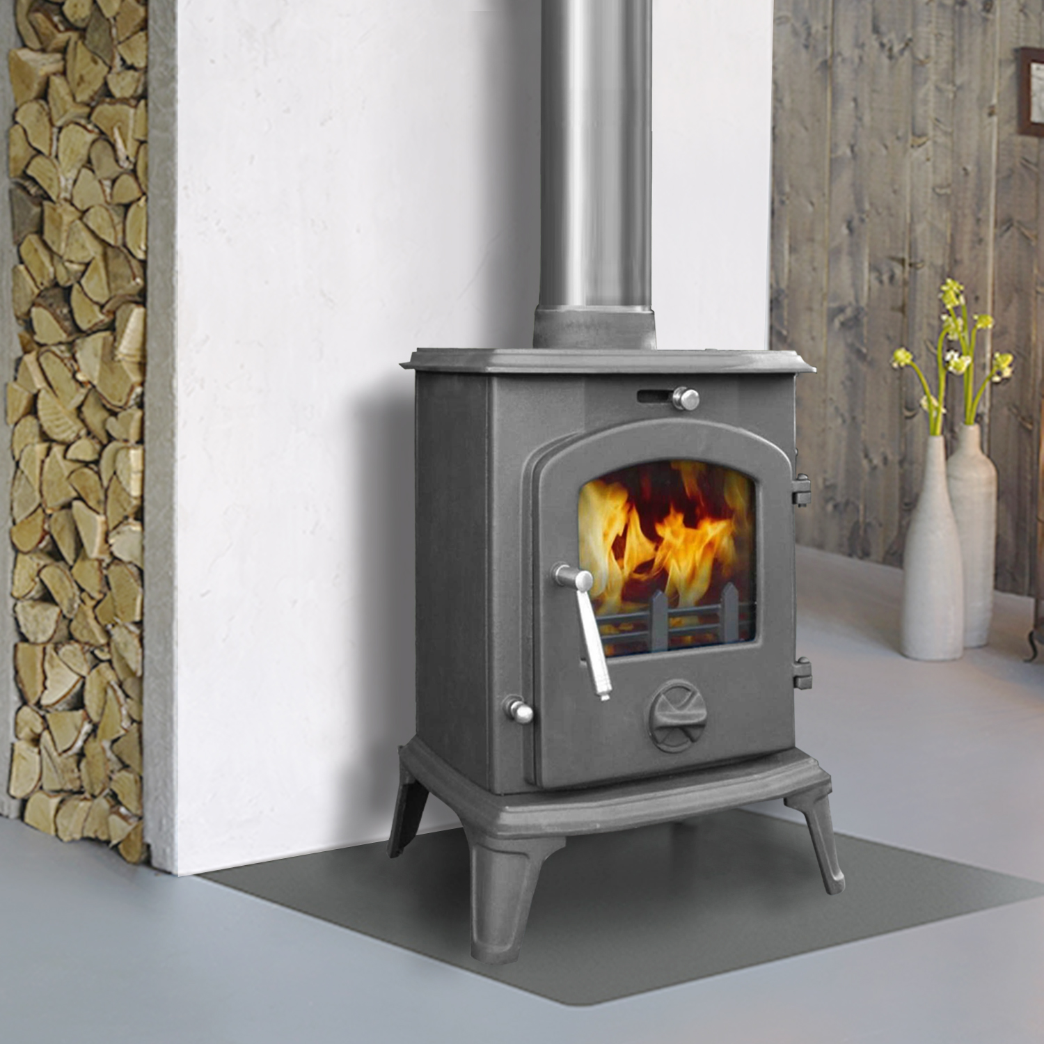 5 5kw multifuel clean burn woodburners cast iron log for Wood burning stove for screened porch
