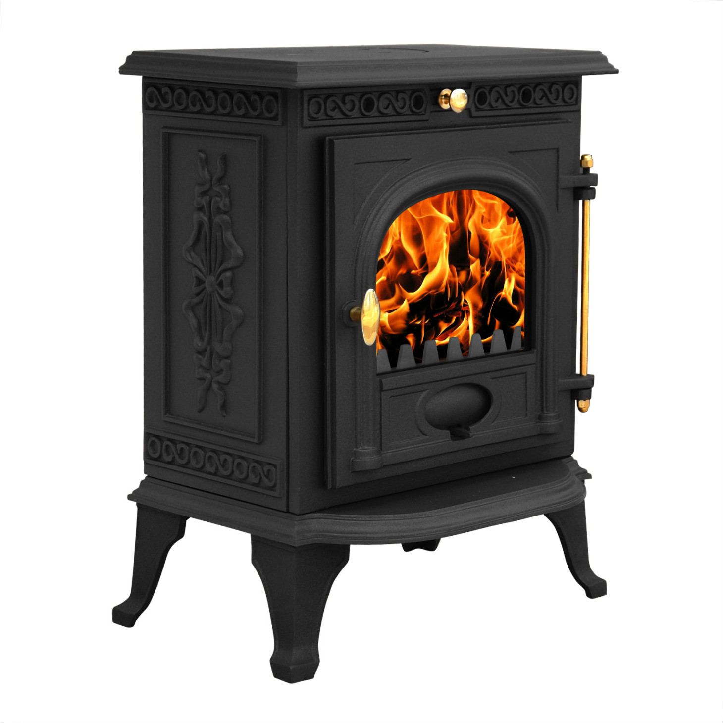 Ja014 6 5kw cast iron log burner modern multifuel wood for Wood burning stove for screened porch