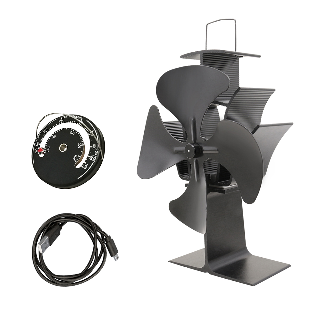 Heat Powered Eco Stove Fan with Thermometer Wood Log Burner Burning Fireplace