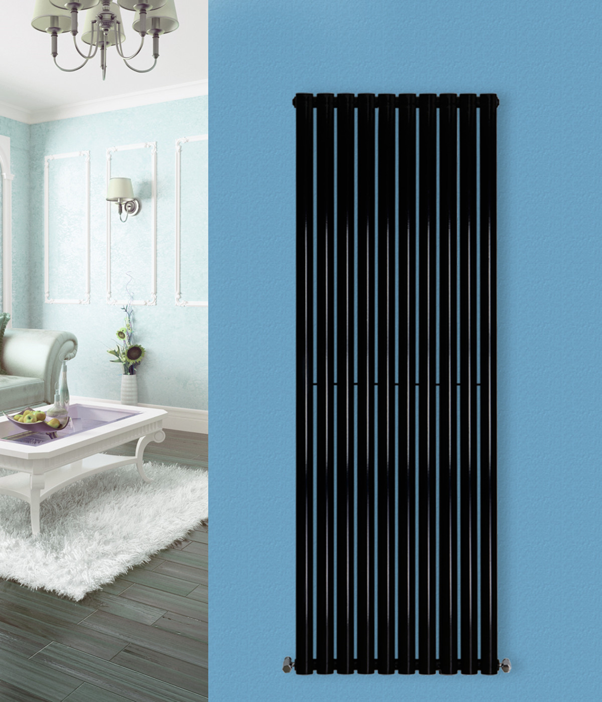 Vertical Oval Panel Tall Upright Column Designer Radiator Central ...