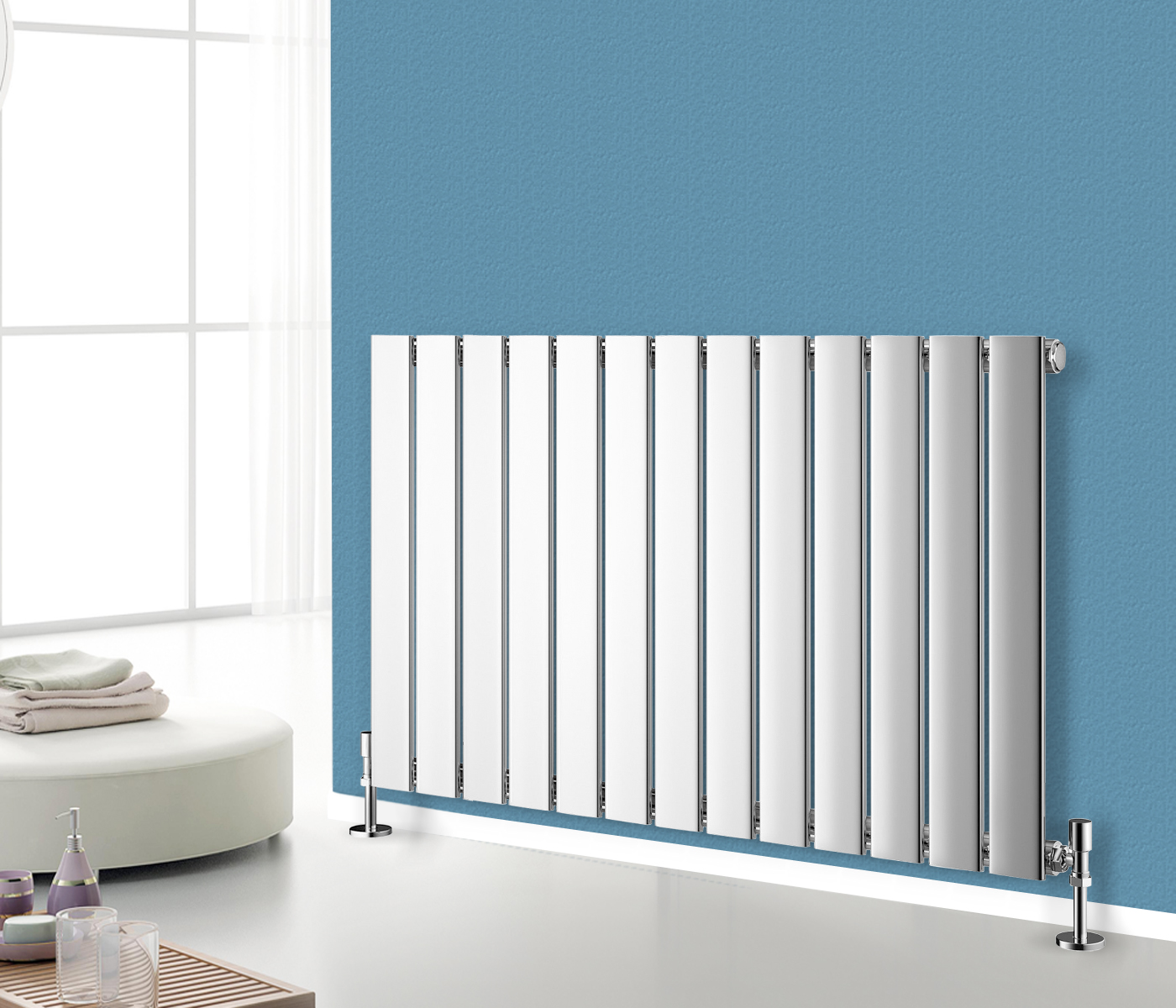 Horizontal Designer Flat Panel Radiator Bathroom Central Heating ...