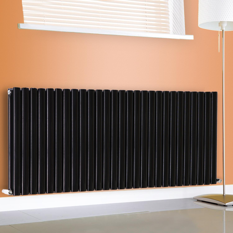 600x1593mm Horizontal Oval Column Designer Bathroom Radiator Black Double Panel
