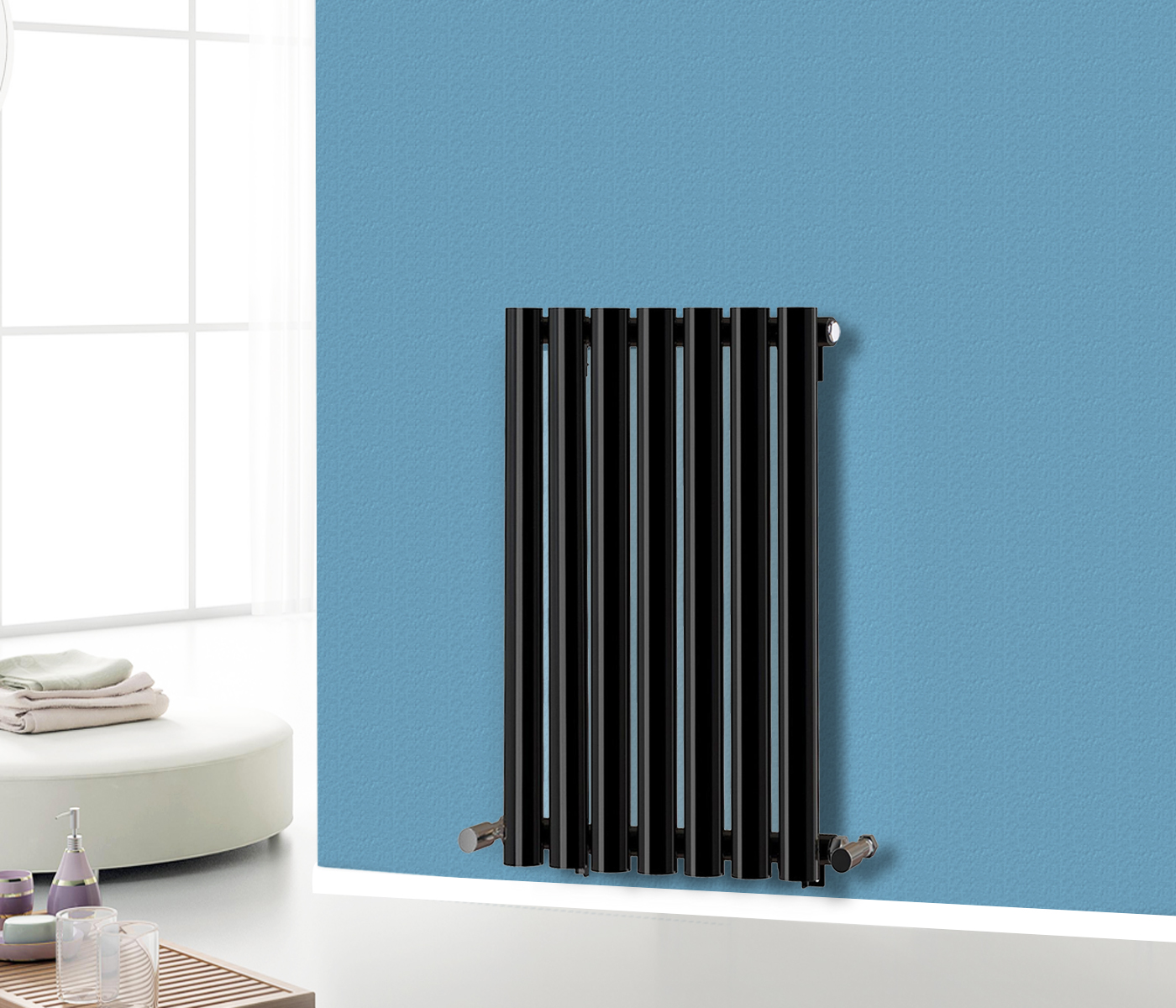 600x413mm Oval Column Designer Modern Central Heating Radiator Black ...