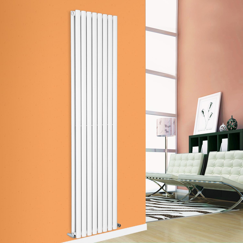 1800x472mm Modern White Vertical Designer Single Panel Oval Column Radiator