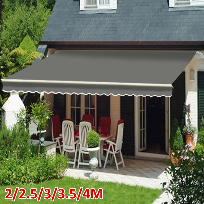 2 2 5 3 3 5 4m Patio Manual Awning Garden Canopy Sun Shade