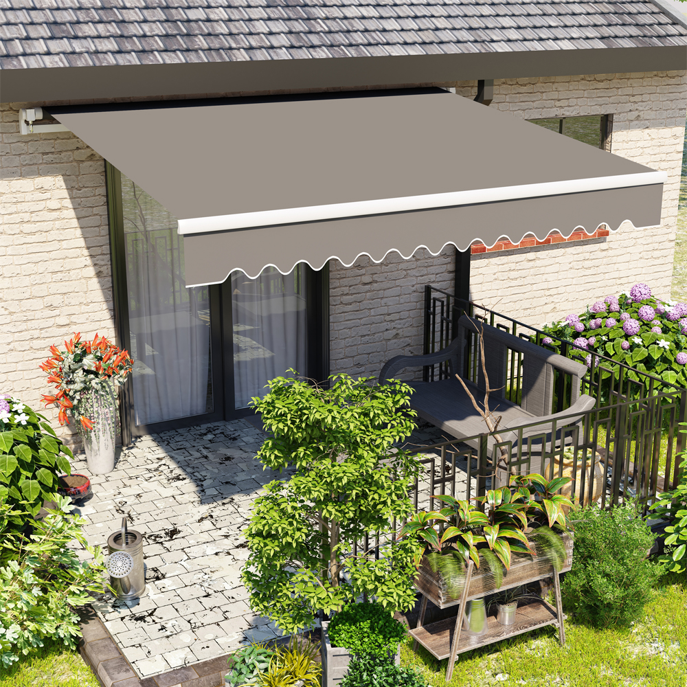 Gray Manual Retractable Awning Outdoor Patio Canopy Window Awning ...
