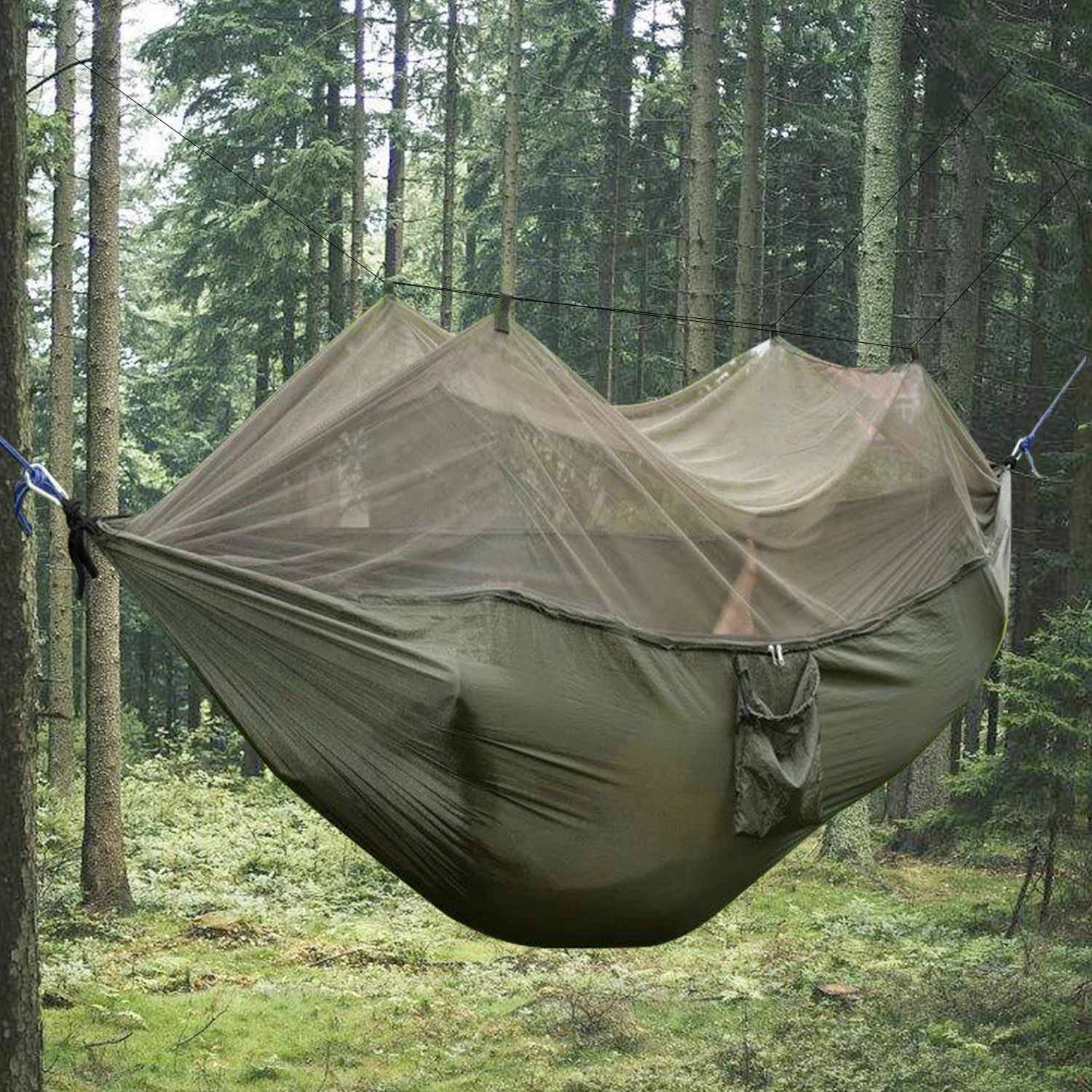 Camping Nylon Hammock With Mosquito Net Army Green