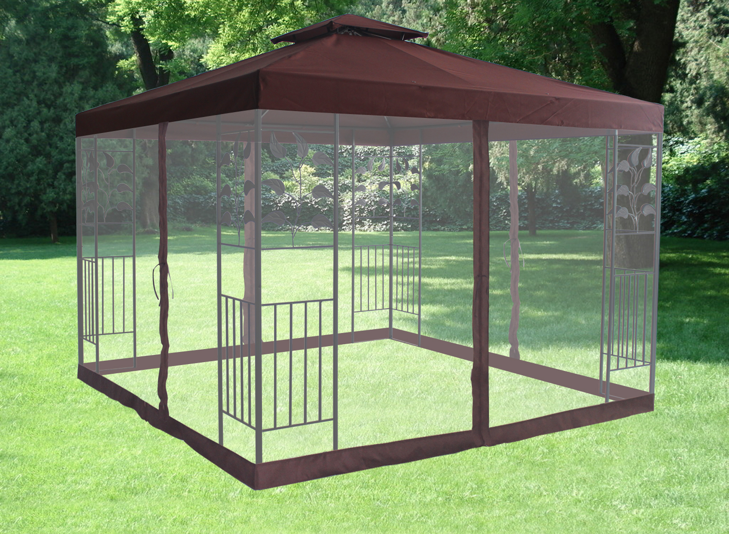 Pavilion Metal Gazebo Sun Shade Marquee Mosquito Net Fly