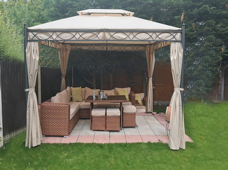 3x3m Metal Gazebo Pavilion Garden Tent Canopy Sun Shade