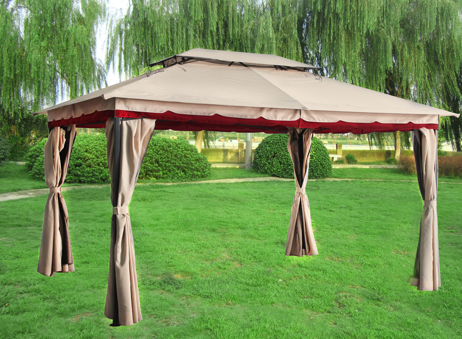 3x4m Deluxe Metal Pavilion Gazebo Awning Canopy Sun Shade