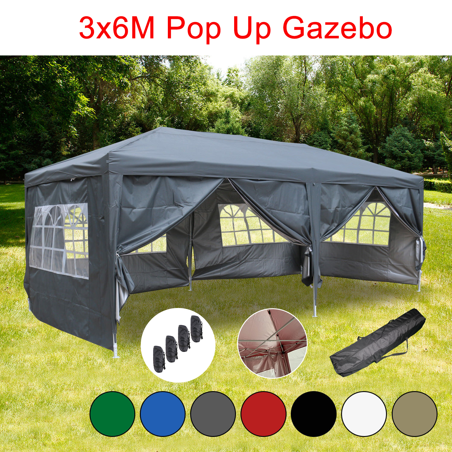 Outdoor Pop Up Gazebo Marquee Garden Party Tent With Carry