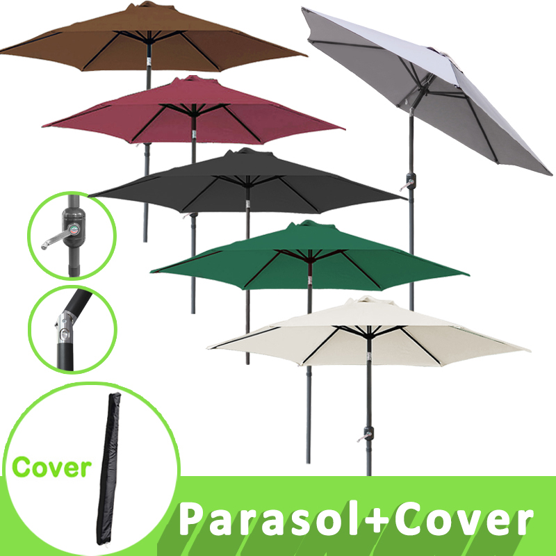 2 5m Round Garden Parasol Patio Sun Shade Aluminium Crank