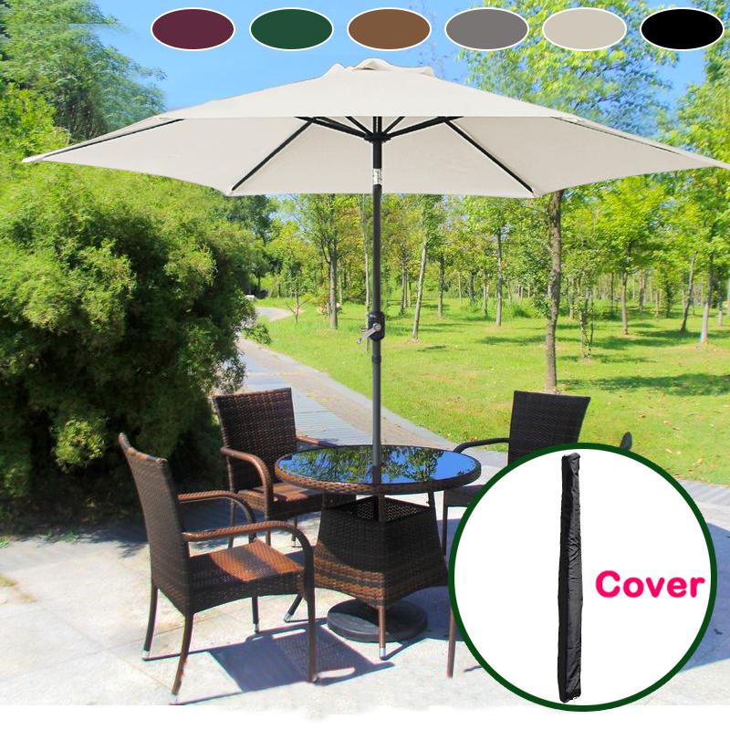 Aluminium 3m Large Round Garden Parasol Canopy Patio Sun