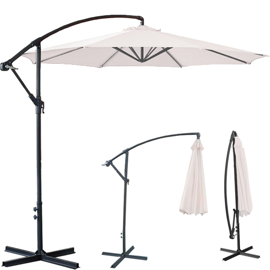 3m Cream Garden Banana Parasol Sun Shade Patio Cantilever