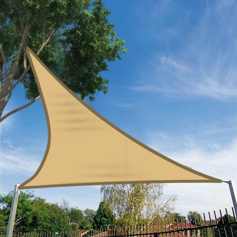 5m Sun Shade Sail Garden Canopy Awning 98 Uv Block Triangle Sand Ebay