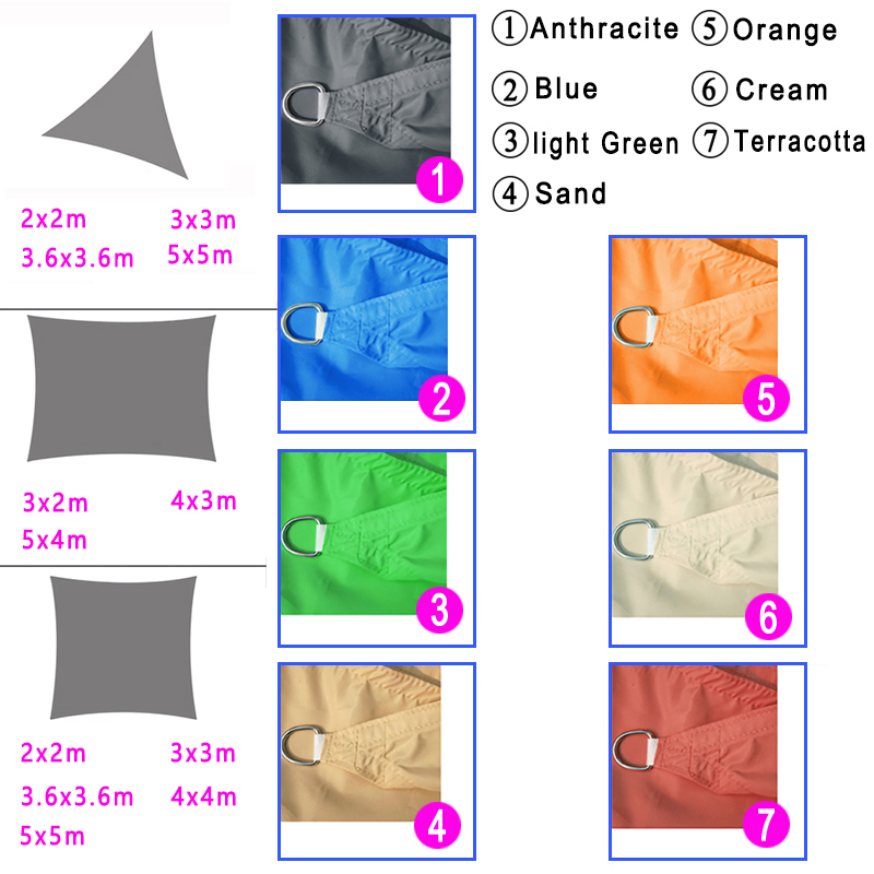 Camping & Hiking ATR Visor Cloth 5 x 5 m Square Waterproof Sunscreen Sunscreen UV Block Terrace Garden Cream