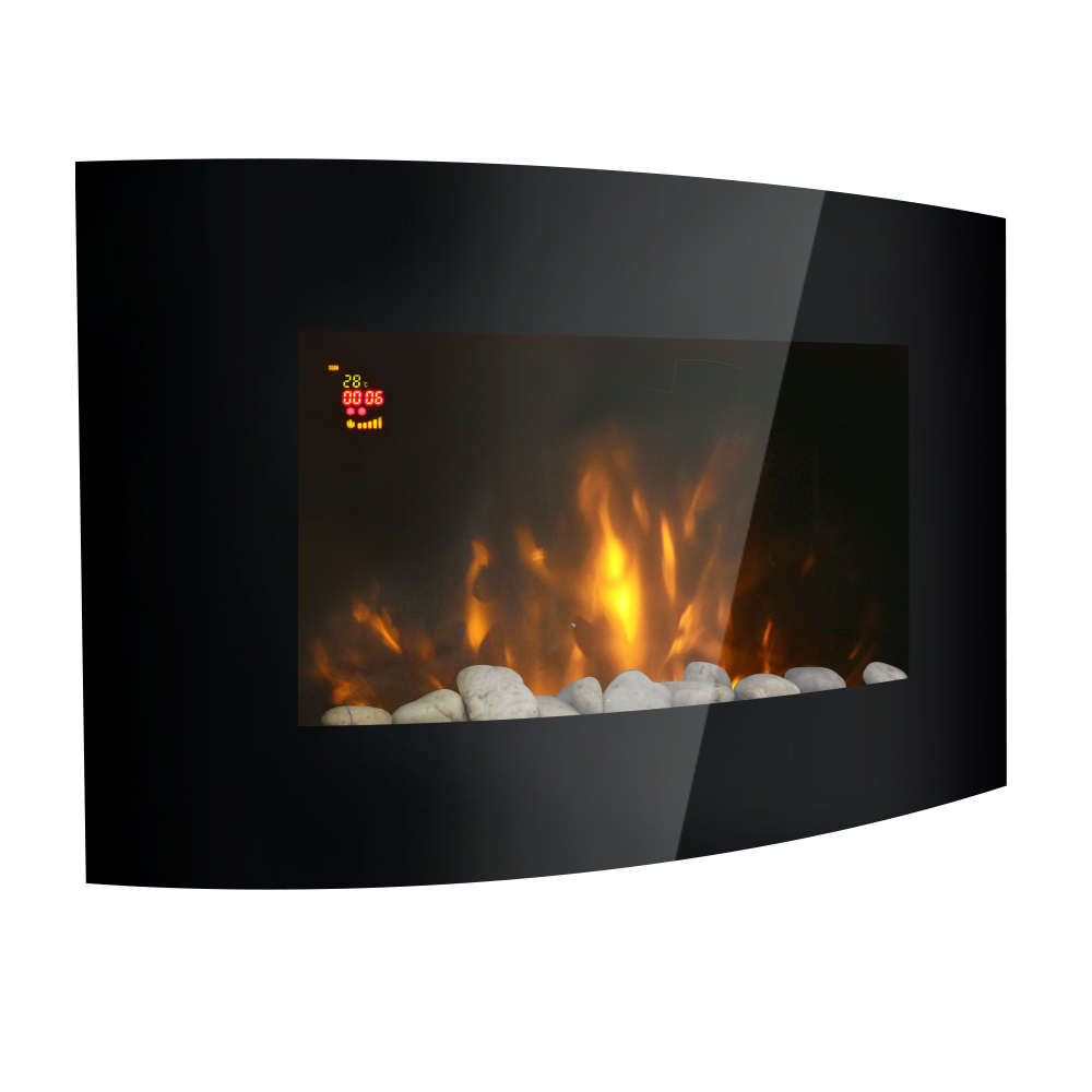 42 Quot 2kw Led Curved Glass Electric Fireplace Wall Mounted