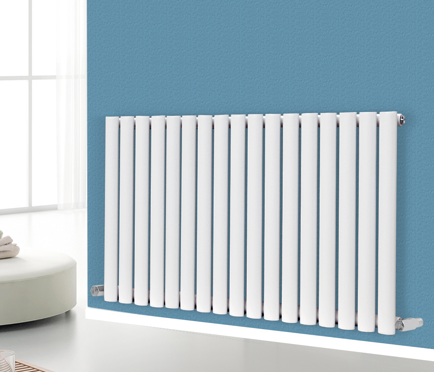 Horizontal Designer Oval Column Panel Bathroom Radiators Central Heating White Ebay