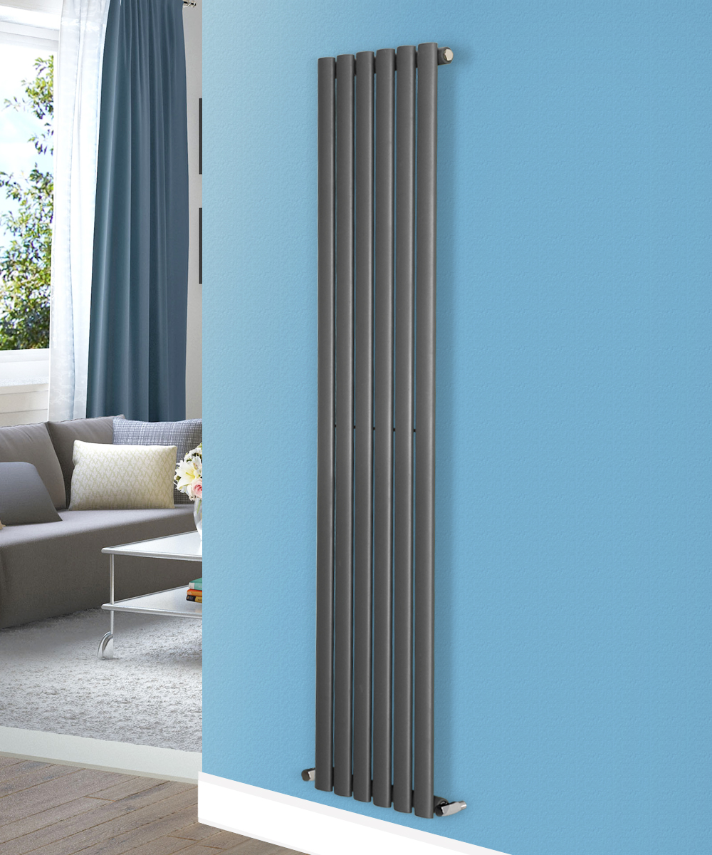 Designer vertical modern upright oval single column radiator uk central heating ebay for Contemporary radiators for living room