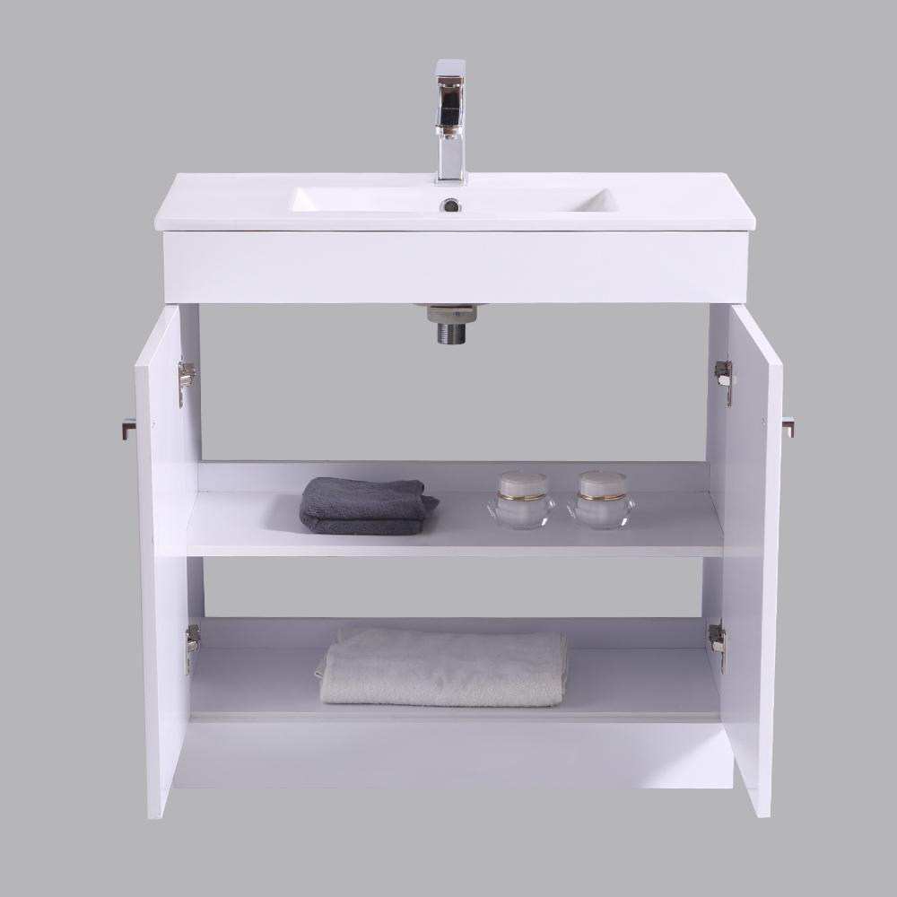 Bathroom-Basin-Vanity-Unit-Storage-Tall-Cabinet-WC-Toilet-Furniture-Gloss-White thumbnail 14