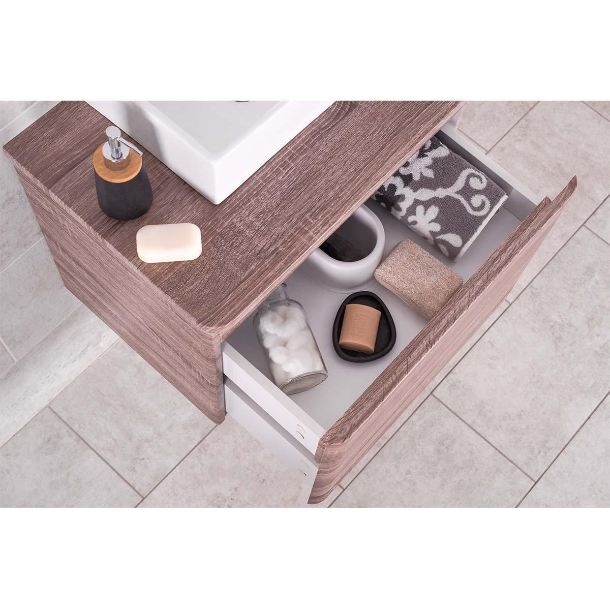 Bathroom Vanity Unit Storage Light Oak Drawers Cabinet ...
