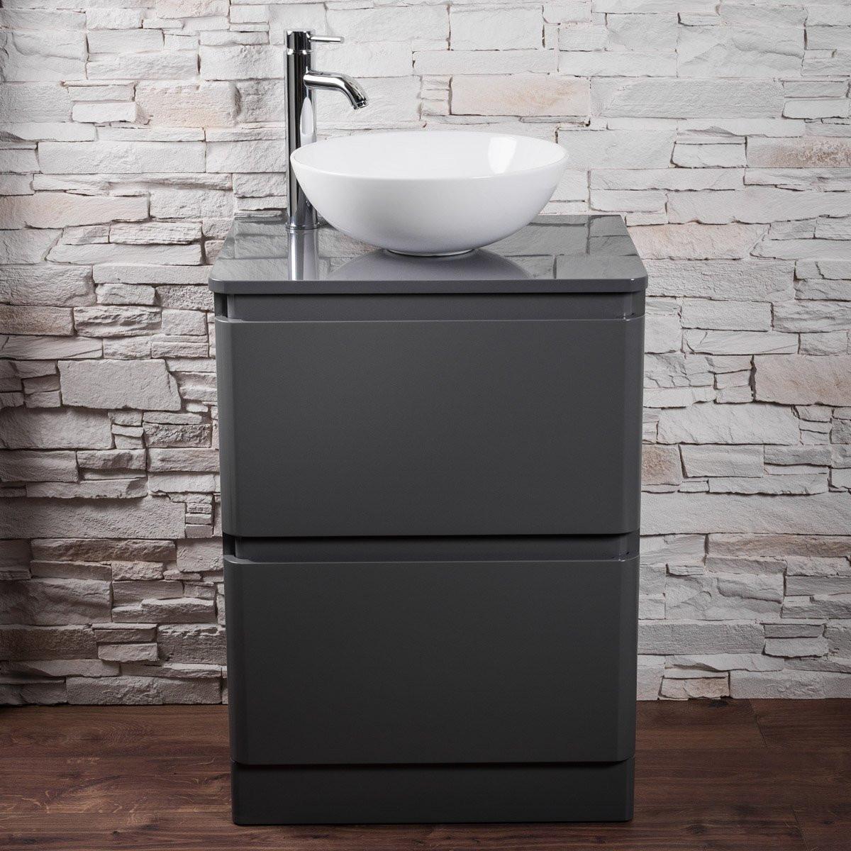 Bathroom Wall Hung Floor Standing Vanity Unit Grey Cabinet ...