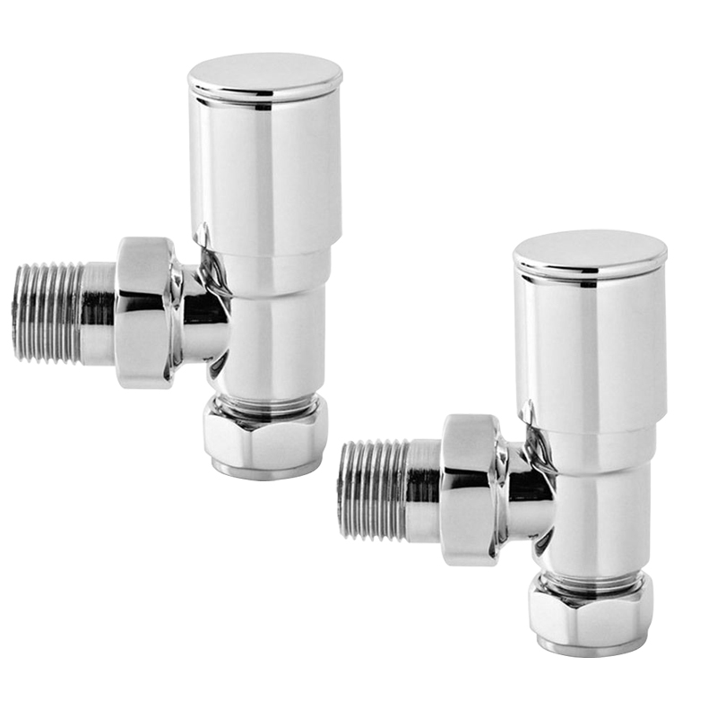 Angled Round Head Chrome Towel Rail Designer Radiator