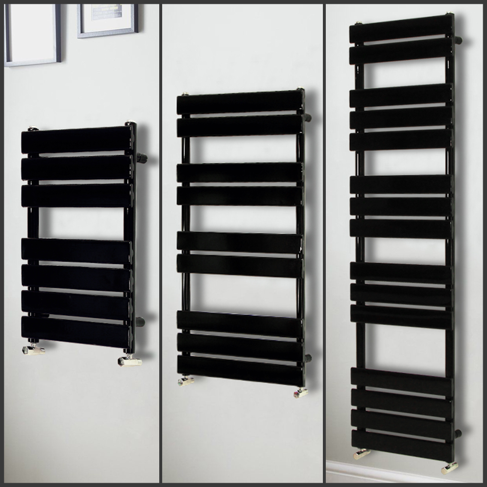Alpine Modern Heated Towel Rail Warmer Chrome: Modern Black Designer Flat Panel Heated Towel Rail