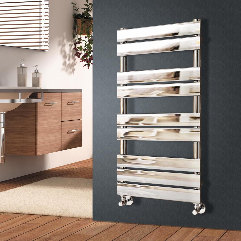 Modern Designer Flat Panel Heated Bathroom Towel Rail