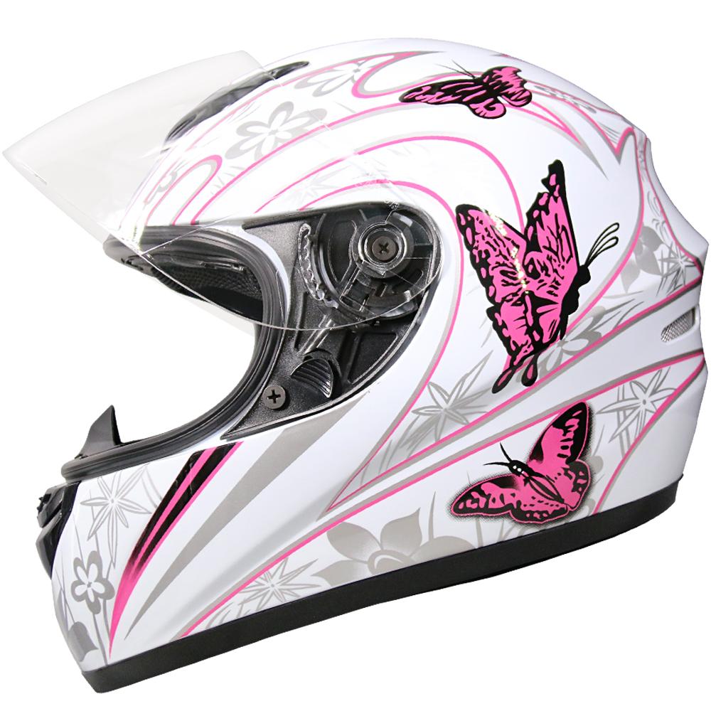 Details About Leo 819 Full Face Motorbike Motorcycle Helmet Bike Ladies Womens Pink Butterfly