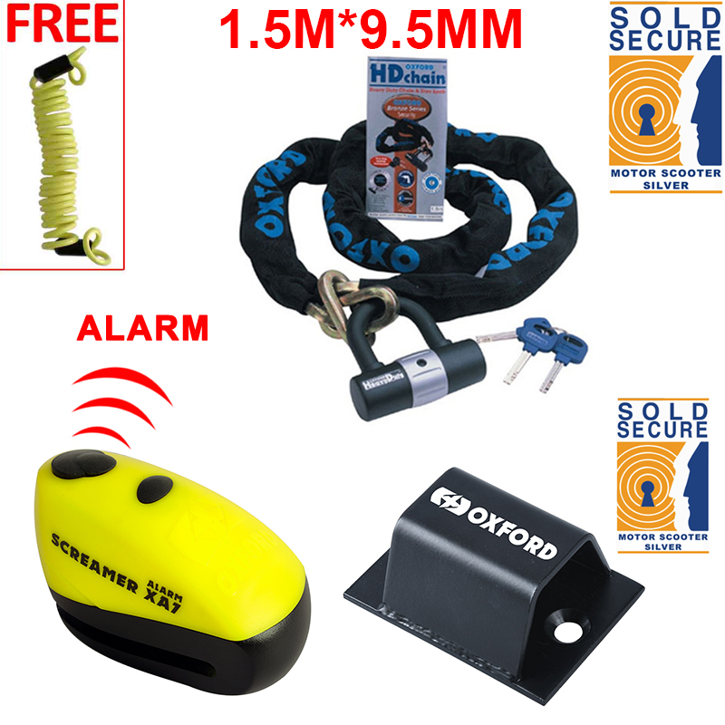 Oxford Motorbike Chain Lock GRID SABRE Motorcycle Steel Chain /& Lock Security Shackle Pad Lock BRUTE FORCE Ground Wall Anchor