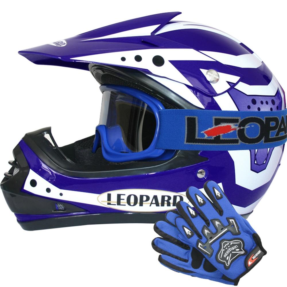 Leopard {Kinder MotocrossHelm Brille} Kinder Motorradhelm Full Face MX Helmet M/ädchen Jungen Dirt Bike Handschuhe