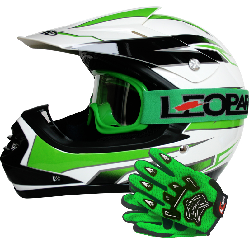 leopard leo x16 kinder motorradhelm moto cross helm handschuhe brillem quad ebay. Black Bedroom Furniture Sets. Home Design Ideas
