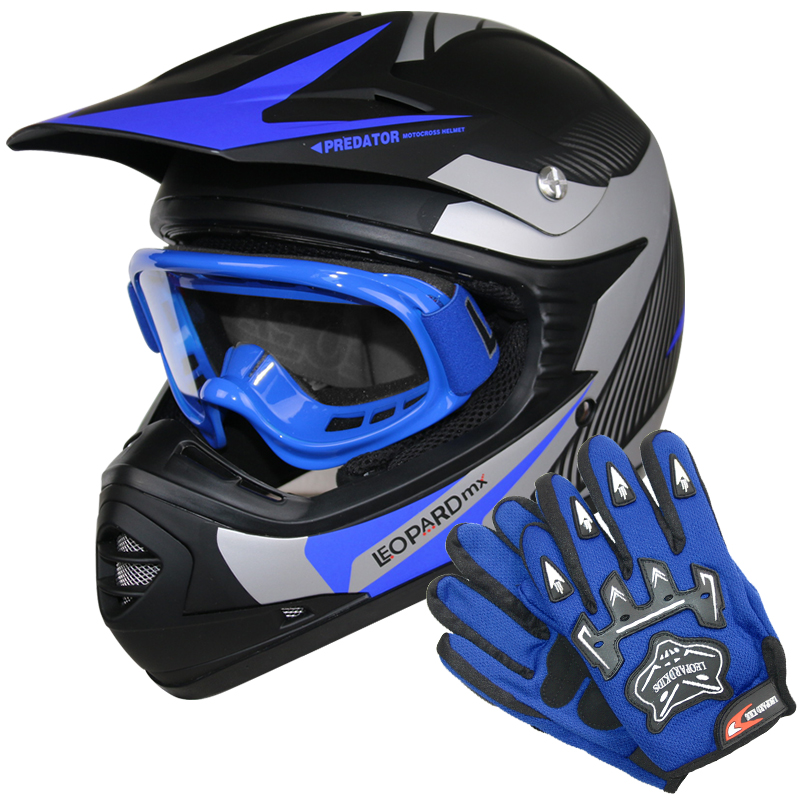 leopard leox19 kinder motorradhelm moto cross helm mx handschuhe brillem blau ebay. Black Bedroom Furniture Sets. Home Design Ideas