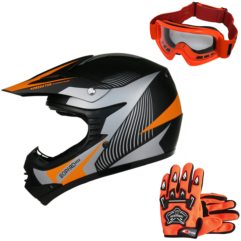 leopard kinder motorradhelm crosshelm off road mx quad atv handschuhe brille ebay. Black Bedroom Furniture Sets. Home Design Ideas