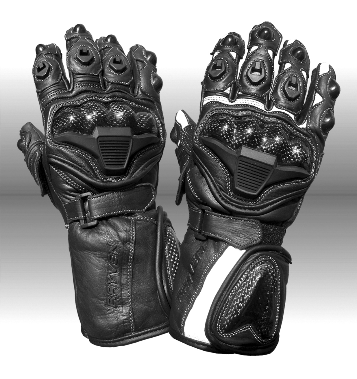 Rayven Fury Leather Knuckle Protection Scooter Motorbike Motorcycle Gloves