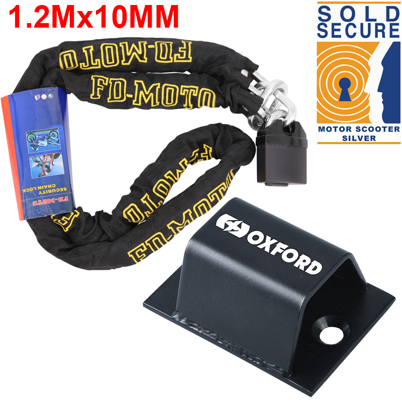 MOTORCYCLE SOLD SECURE OXFORD HD 1.0M MOTORBIKE SECURITY 10 MM HARD STEEL CHAIN WITH BRUTE FORCE GROUND ANCHOR HIGH QUALITY