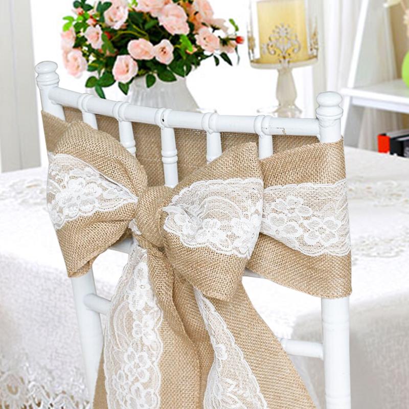 17x240cm jute dentelle noeud de chaises rubans bande - Location de chaise pour mariage ...