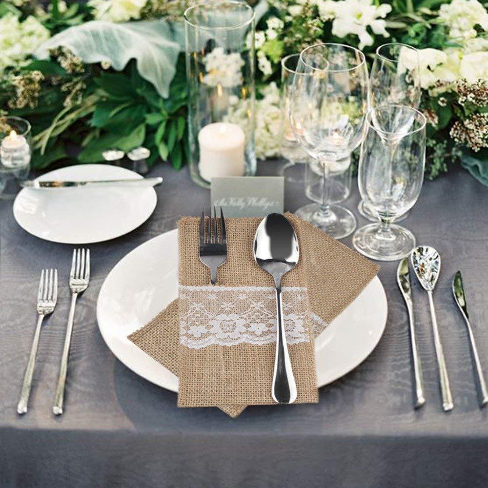 100pcs Natural Hessian Burlap Cutlery Holder Lace Rustic Wedding Table Decor    eBay