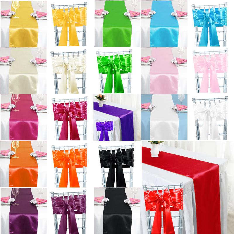 100pcs ruban noeud ceinture de chaise satin 10 chemin de table satin mariage ebay. Black Bedroom Furniture Sets. Home Design Ideas